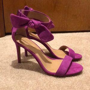 Banana republic purple suede bow & zip back shoes